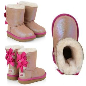 UGG Bailey Bow Suede Shimmer Boots Toddler Girl 6